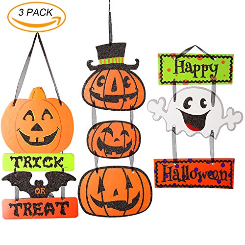 Halloween Trick or Treat Hanging Sign Decoration Happy Halloween Sign Door and Wall Signs,for Home,School,Outdoor,Halloween Party (Glitter Happy Halloween Sign)