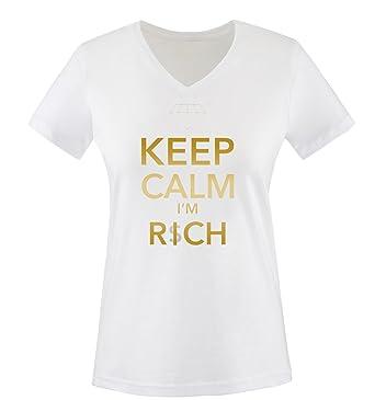 97cbd1cc781b Comedy Shirts - Keep Clam I'm Rich - Diamond - Women V-Neck T-Shirt ...