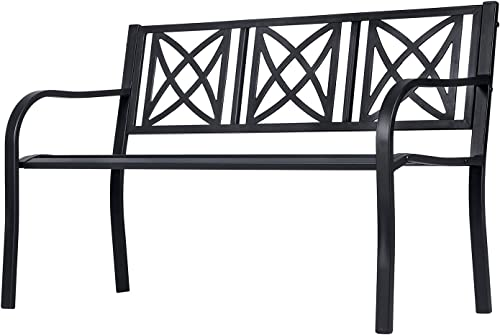 Vifah V1811 Ronsard 4-Foot Metal Garden Bench in Black
