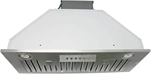 "Awoco Built-in/Insert Stainless Steel Range Hood, 4-Speed, 600 CFM, LED Lights, Baffle Filters for Wood Hood (30"")"