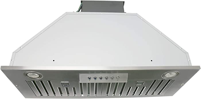 "Awoco Built-in/Insert Stainless Steel Range Hood, 4-Speed, 600 CFM, LED Lights, Baffle Filters for Wood Hood (36"")"