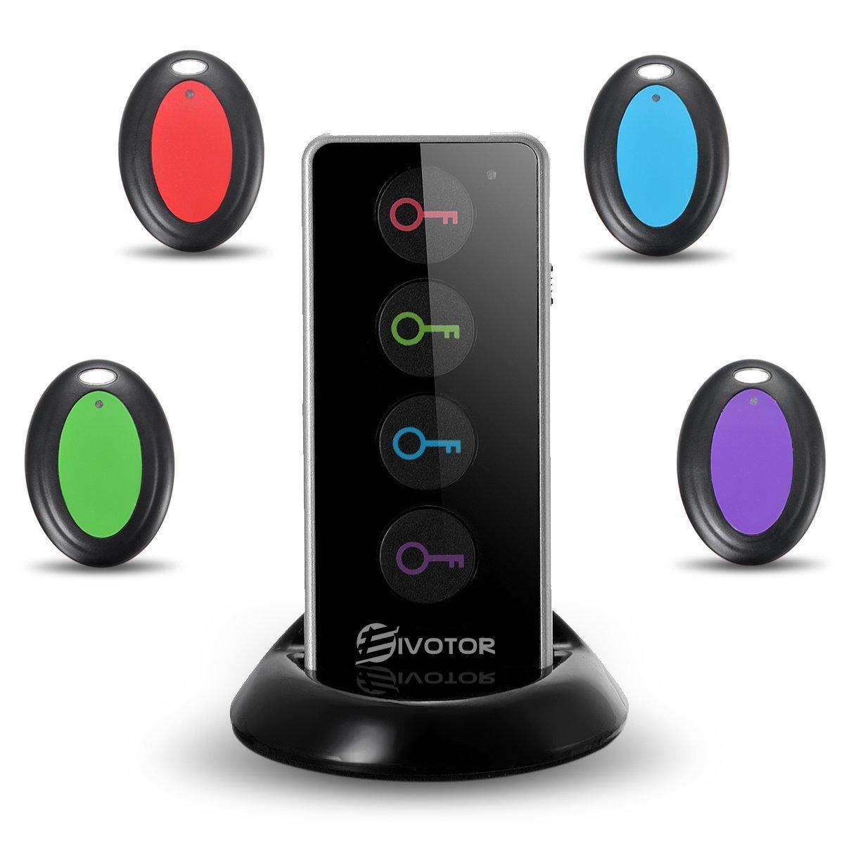 Key Finder, EIVOTOR Cercatore Chiave Wireless con Luce LED, Trova Chiave Sonoro 1 Telecomando Trasmettitore e 4 Ricevitori, Localizzatore Anti-Lost con Allarme Sonoro