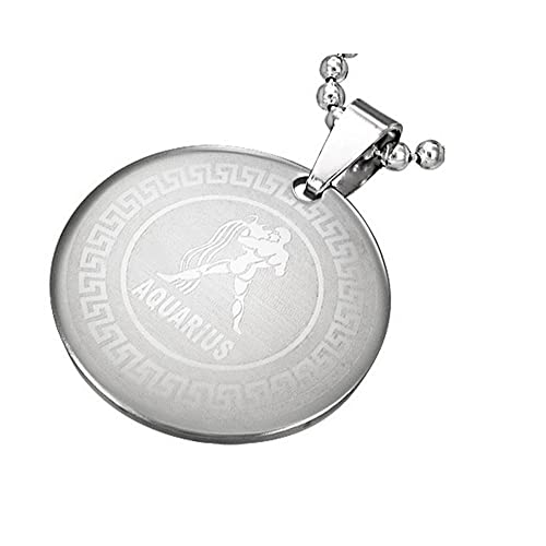 Aquarius Stainless Steel Silver-Tone Greek Key Zodiac Sign Necklace Pendant