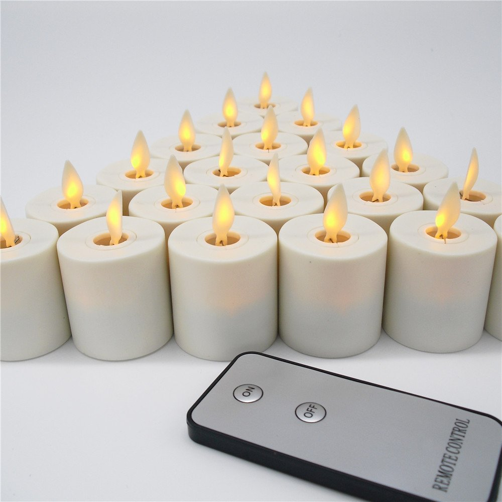 NONNO&ZGF 3D LED Dancing Light Votive Candles with Rechargeable Base and Remote - Set of 12 by NONNO&ZGF (Image #1)