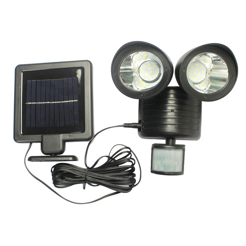 GZCRDZ Solar Lights,22 LED Solar Powered Motion Sensor Security Flood Spot Light (Black)