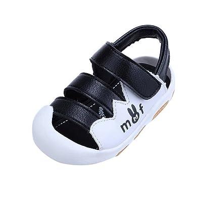 8b2bc6176d291 Evedaily Bébé Garçon Fille Sandales Bout Fermé Chaussures Premiers Pas Été  Velcro en Cuir Semelle Antidérapante