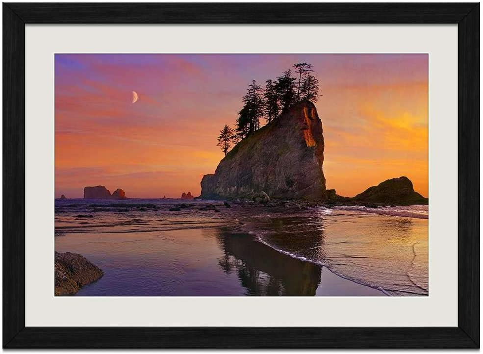 Amazon Com Beach Sea Coast Sunset Olympic National Park Washington Art Prints Wall Wood Frames Posters Framed Picture Home Decor 16x12inch Black Frame Posters Prints