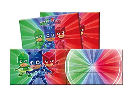 Verbetena, 016001333, pack 6 invitations with envelope pj masks. invitations pj