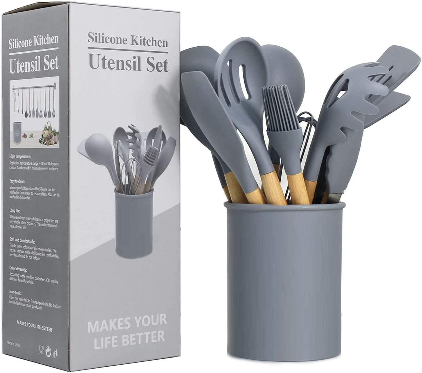 Silicone Kitchen Utensil Set, Food Grade Silicone Spatula Set 12pcs Non-Stick Cookware Special High Temperature Resistant Natural Wooden Handle Cookware Set (Dark Grey)