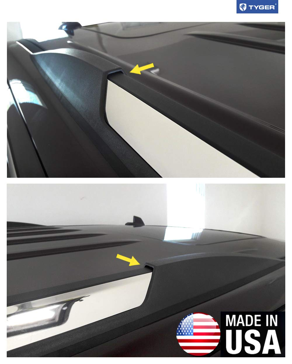 TYGER Fits 2015-2019 Chevy Suburban GMC Yukon XL Roof Rack Body Molding Trim 2PC