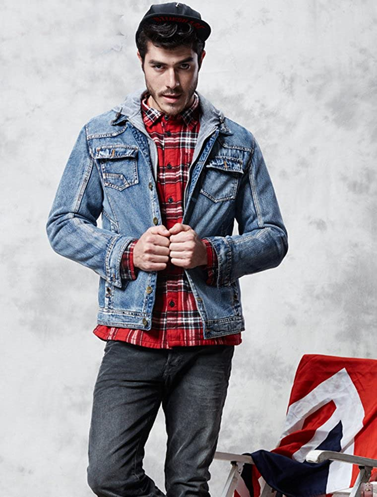 Lavnis Mens Winter Denim Hooded Jacket Slim Fit Casual Jacket Button Down Distressed Jeans Coats Outwear VGS554