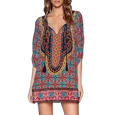 DondPo Women Bohemian Dress Neck Tie Vintage Printed Ethnic ...