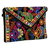 Rajasthani Jaipur Indian Handmade Potli Vintage Tribal Banjara Bohemian Clutch Handbags (black1)
