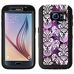 Skin Decal for Otterbox Defender Samsung Galaxy S6 Case - Damasks Floral White on Nebula