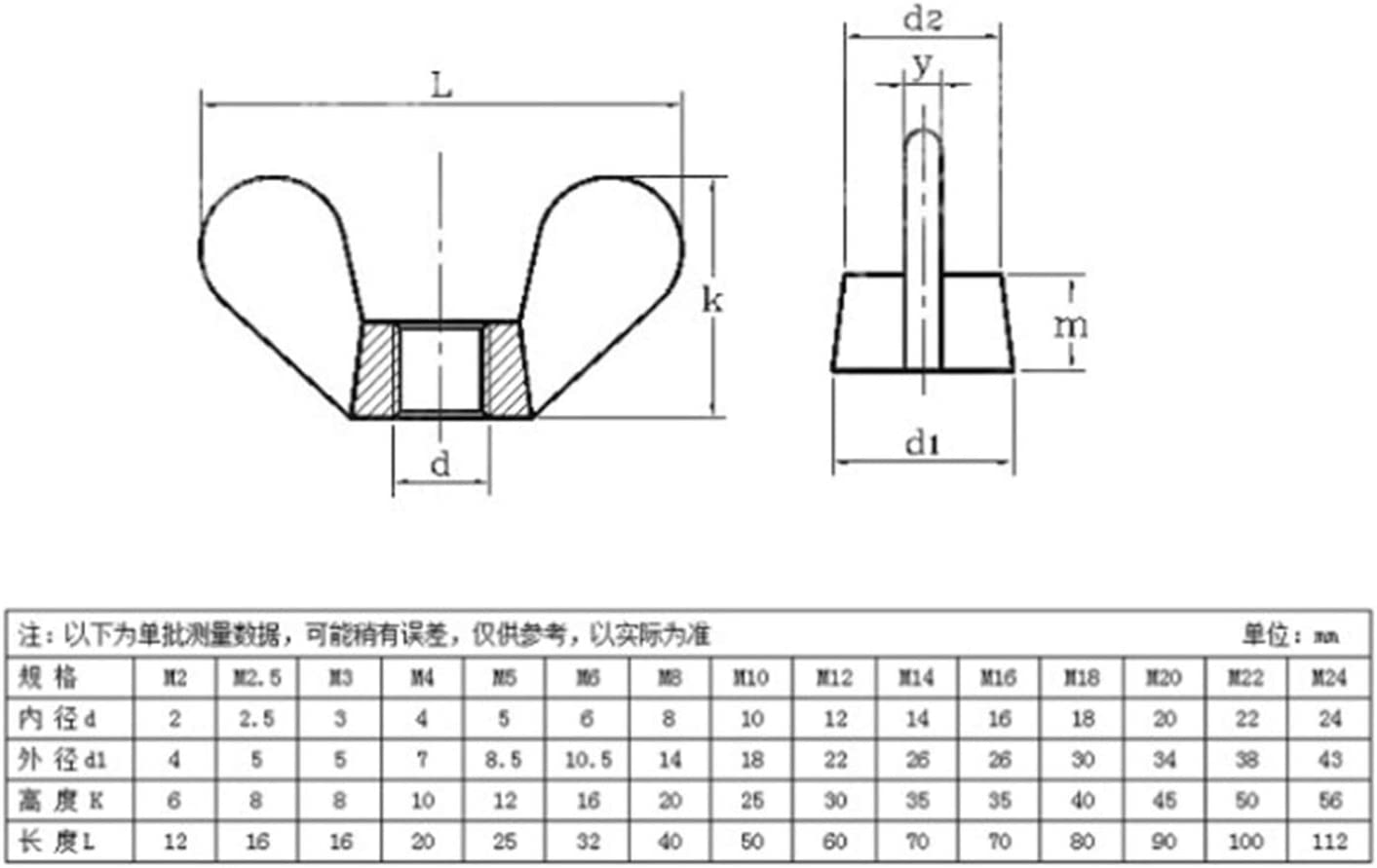 DINGGUANGHE-CUP Hex Nuts 50 Pieces 304 Stainless Steel Wing Nuts Butterfly Nuts M4 Metic Threaded Machine Screw Nuts