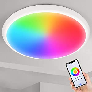 """Smart Ceiling Light, YUNLIGHTS 12"""" 24W Smart LED Flush Mount Ceiling Light Compatible with Alexa & Google Home & WiFi App Control,RGB Dimmable Ceiling Light Fixture for Bedroom, Bathroom, Living Room"""