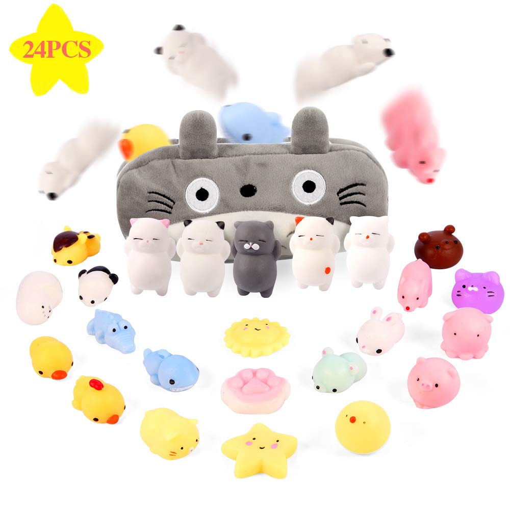 Gooidea Mochi Squishy Toys 丨 24pcs Mini Squishies Stress Relief Fidget Toys Kids Party Favors Squishies Gifts for Girls and Boys丨 Kawaii Squishies Cat Panda Animals Squeeze Toys Set with Cartoon Bag