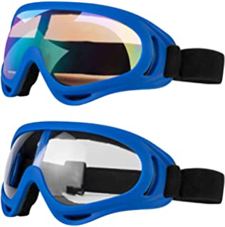 df95a5d94f11 LJDJ Motorcycle Goggles - Glasses Set of 2 - Dirt Bike ATV Motocross Anti-UV