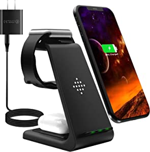 Wireless Charging Stand,3 in 1 Wireless Charger Fast Charging Dock Station for Apple Watch 6 SE 5 4 3 2, Airpods 2/Pro, iPhone 12/12 Pro/12 Pro Max/11/11 Pro/X/Xr/Xs/8 Plus(with QC3.0 Adapter
