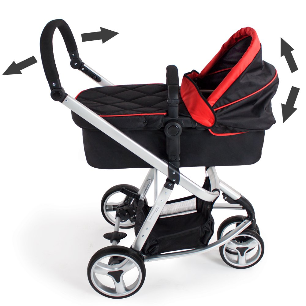 TecTake 3 en 1 Sillas de paseo coches carritos para bebes convertible - disponible en diferentes colores - (Rojo-Negro | no. 400975)