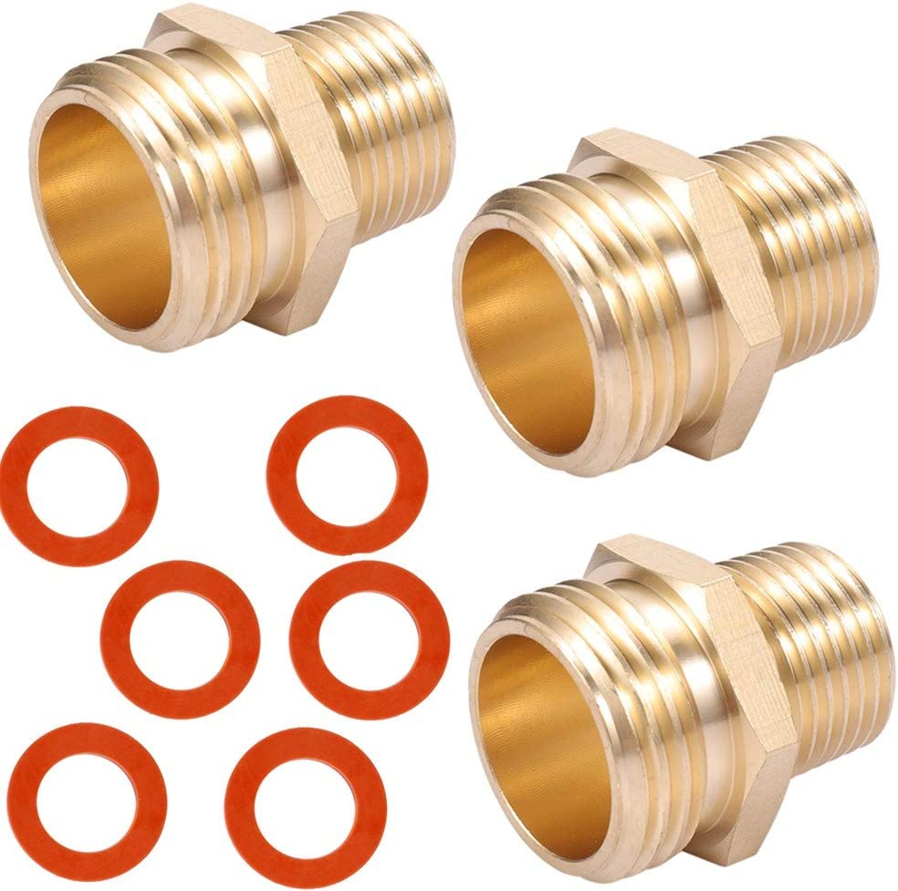 ZKZX Brass Pipe to Hose Fitting,1/2 NPT Male X 3/4 Hose Thread Male,Garden Hose Fitting to Pipe Fittings Connector Adapter 3pcs with Extra Rubber Washer 6pcs (1/2NPT Male to 3/4GHT Male)