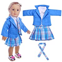 5db455146352 Momola Our Generation 18 inch American Girl Doll Clothing Set 4Pcs Student  Pleated Skirt+Coat