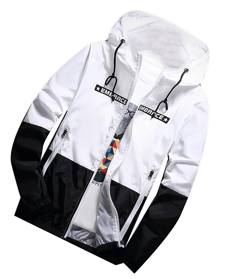 Jaycargogo Men Slim Hooded Contrast Color Windbreaker Breathable Jacket Outwear 3 L by Jaycargogo