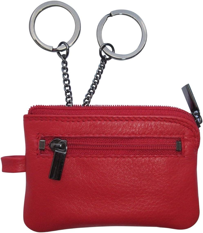 Josephine Osthoff Josybag - Estuche para llaves de piel con 2 anillas en cadena, estuche extra pequeño, color Rojo, talla Maße: nur ca. 10 cm breit und ca. 7 cm hoch.: Amazon.es: