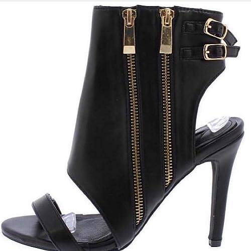 ad66afaef65 Amazon.com | Black Open Toe Rear Cut Out Zipper Heel Shoe | Sandals