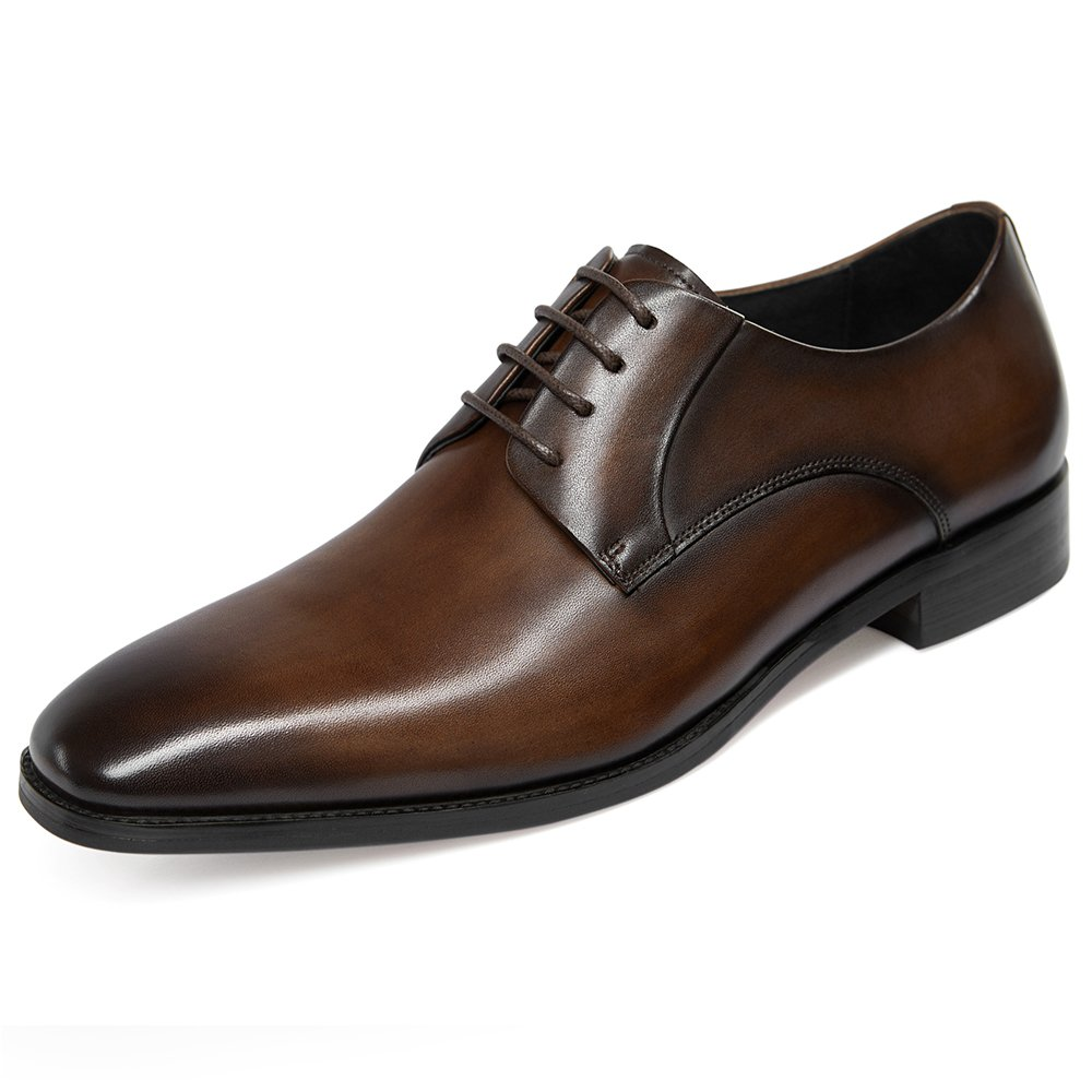 GIFENNSE Men's Leather Oxford Dress Shoes Formal Lace up Modern Shoes(11US/Dark Brown