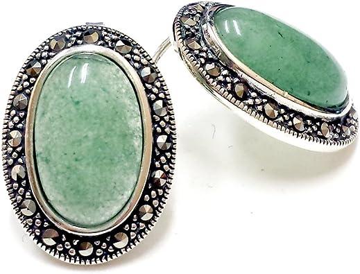 Faux Jade Oval Earrings