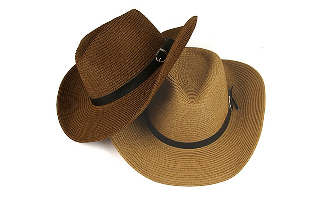 lansue Simplicidad Unisex Café Sombrero de Vaquero Sombrero de Playa  Sombrero de Paja 94f3d106533