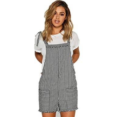 66d9266813 Women s Strap Overall Casual Bib Stripe Pocket Playsuit Pants Short Romper  Jumpsuit Trousers for Teen Girls