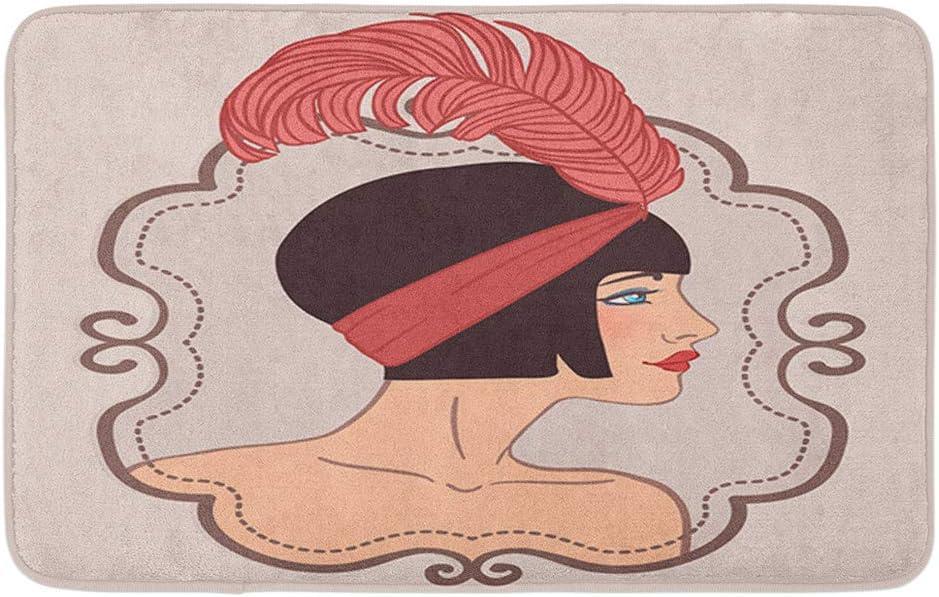 "Adowyee Bath Mat Flapper Girl Retro Party Invitation Design 1920S Deco Feather Art 1930S Charleston Cozy Bathroom Decor Bath Rug with Non Slip Backing 16"" X 24"""