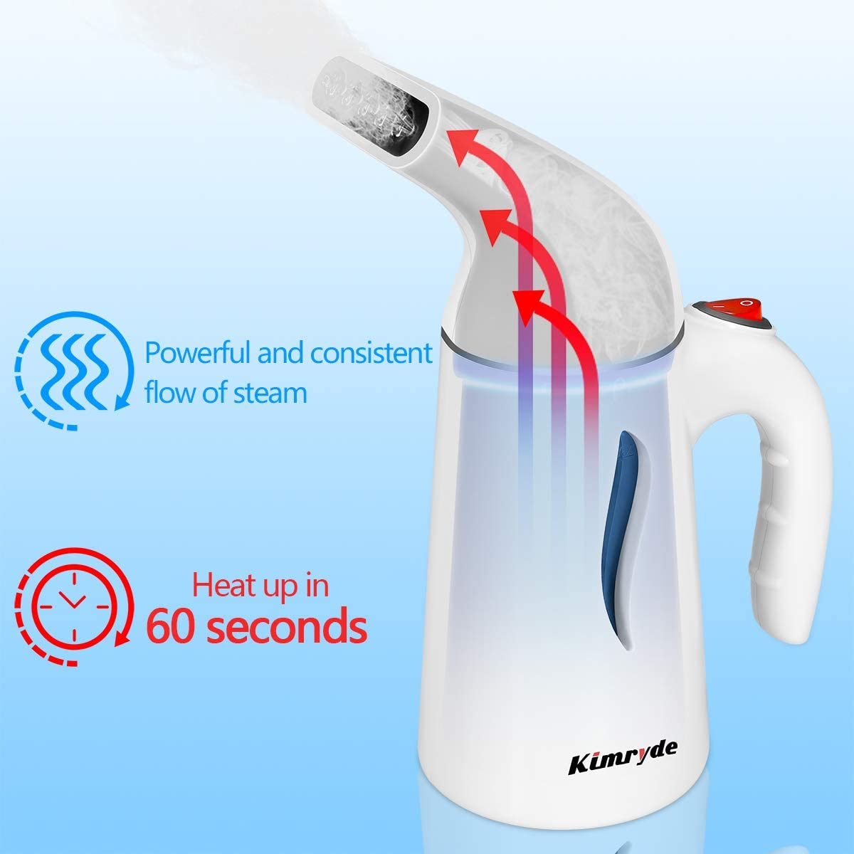 Steam Iron for Home//Travel Clean-Sterilize-Sanitize-Refresh-Defrost with UltraFast-Heat Kimryde Portable Steamer for Clothes 7-in-1 Handheld Garment//Fabric Steamer Wrinkle Remover
