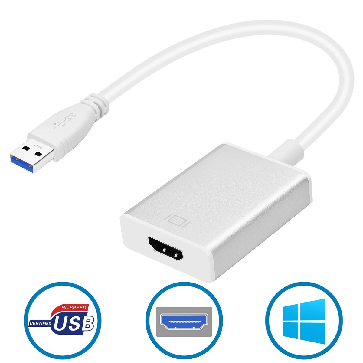 USB to HDMI Adapter, Inclaror USB 3.0 Converter to HDMI 1080P Video Multi Monitor Converter with Audio Output for Laptop HDTV TV PC with Windows XP / 7 / 8 /10 ( No Mac / Vista, Aluminum Silver ) by Inclaror