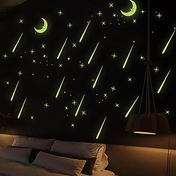 Himanjie Lune 3d Creative Meteor Etoile Filante Lumineuse Sticker