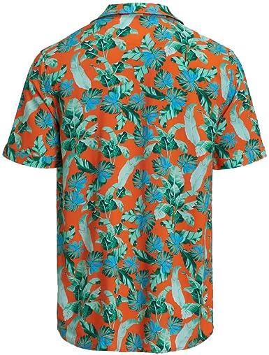 Guess - Camisa de hombre M02H35 WCT20 PFF3 naranja floral ...