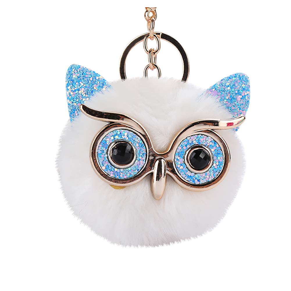 LBgrandspec Cute Owl Fluffy Pompom Ball Pendant Keychain Women Key Ring Gift White