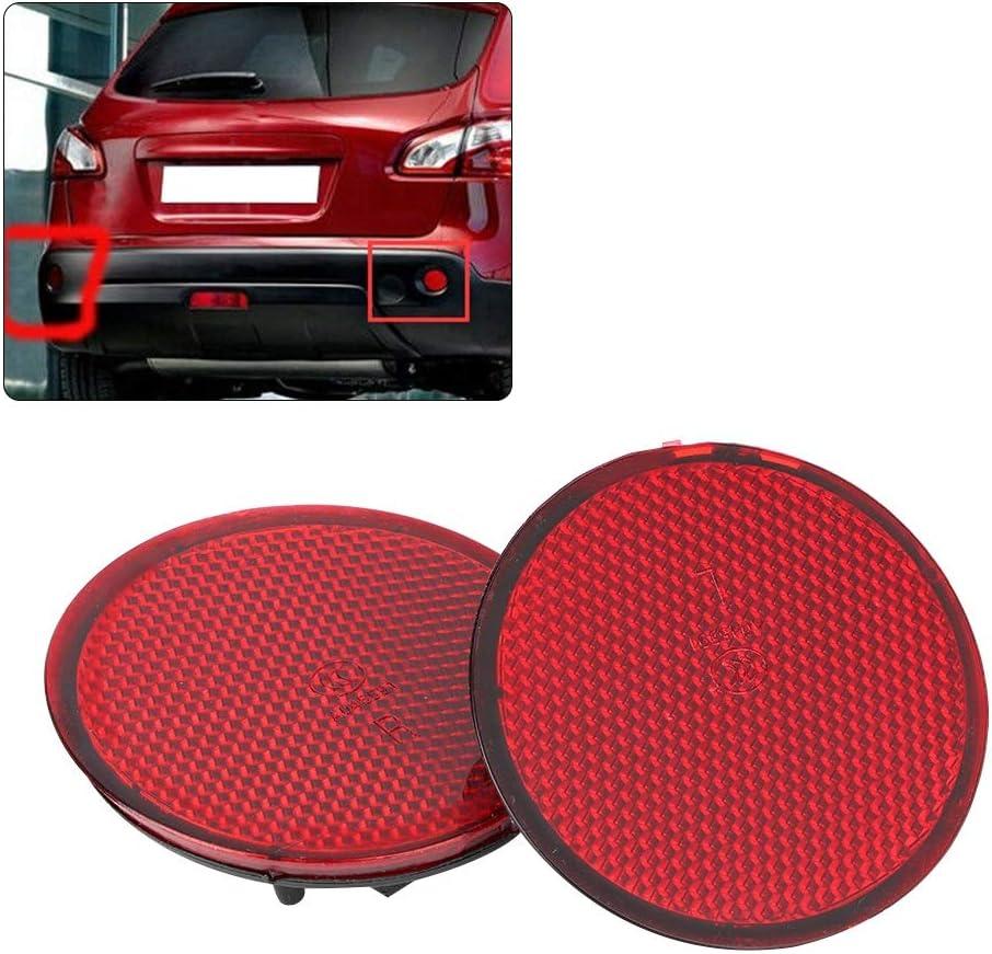 REOUG 2pcs Red Lens Left /& Right Rear Bumper Reflectors 26561JE20A Compatible with N-I-S-S-A-N Qashqai 07-15