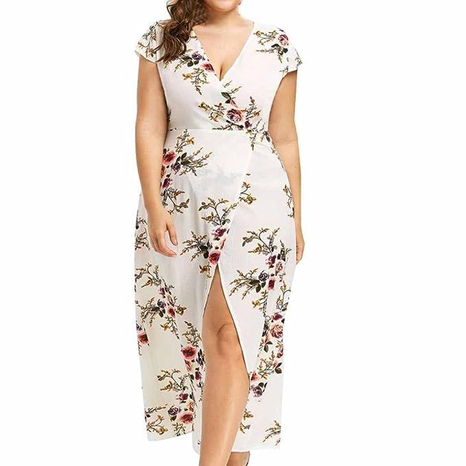 JYC Encaje Elegante Casual Vestido, Verano Suelto Vestido, Vestido Fiesta Mujer Largo Boda, mujeres Corto Manga Más tamaño Irregular Flor Impresión Señoras ...