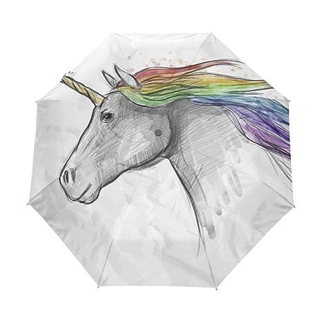 COOSUN Pintado automático de la Cabeza del Unicornio 3 Plegable del Paraguas del Parasol Color #