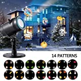 Ahyuan Christmas Landscape Projector Lamp Light with 14 Switchable Slides Waterproof for Patio, Lawn and Garden Outdoor Indoor (Black 14 Slide)