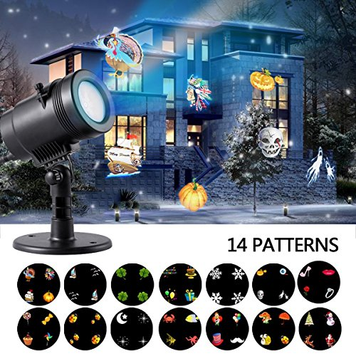 Ahyuan Christmas Landscape Projector Lamp Light with 14 Switchable Slides Waterproof for Patio, Lawn and Garden Outdoor Indoor (Black 14 Slide) by Ahyuan