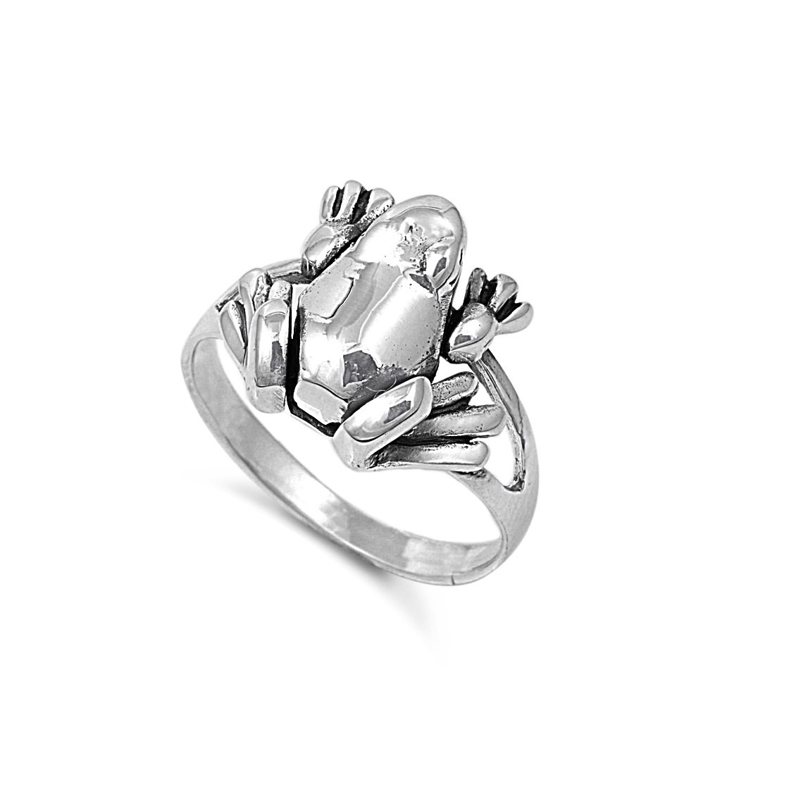 925 Sterling Silver Solitaire Movable Frog Ring Size 10