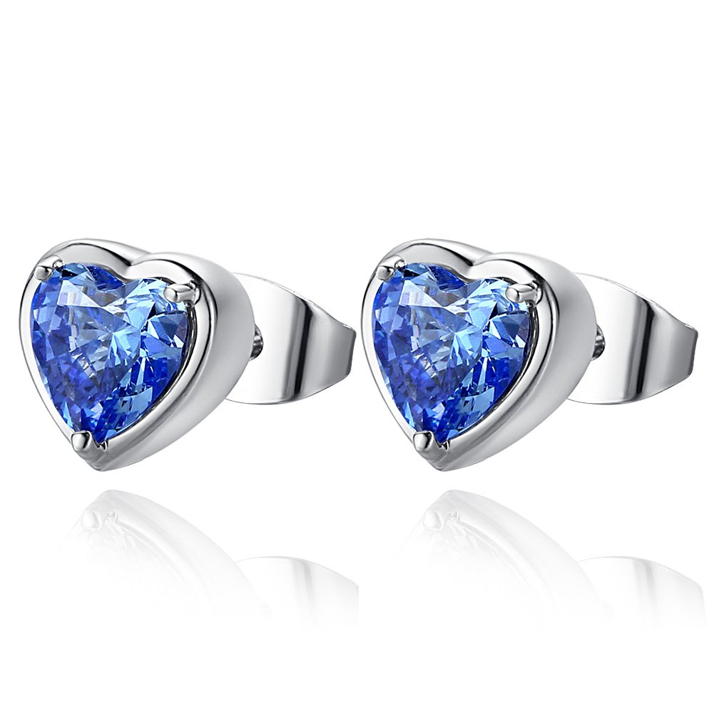 Titanic Inspired Love Heart of the Ocean 18K White Gold Plated Heart Shape Cubic Zirconia Stud Earrings for Women /& Girl