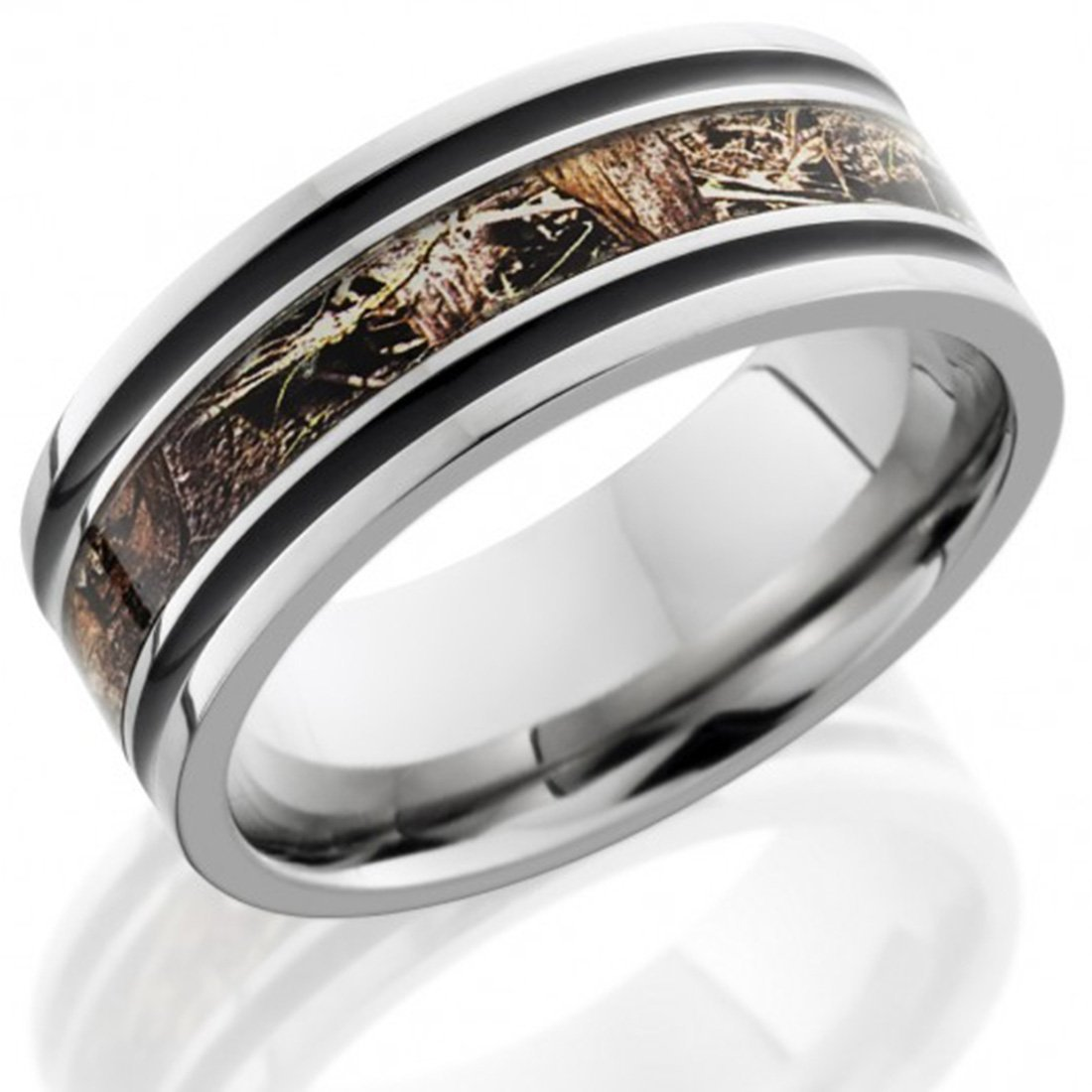 Amazon Com Titanium Ring Camouflage Ring 8mm Flat Band With 3mm