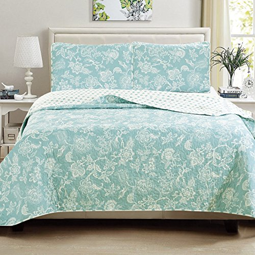 Full Quilt Sham Sheets (Great Bay Home 3-Piece Reversible Quilt Set with Shams. All-Season Bedspread with Floral Print Pattern in Contemporary Colors. Emma Collection By Brand. (Full/Queen, Blue))