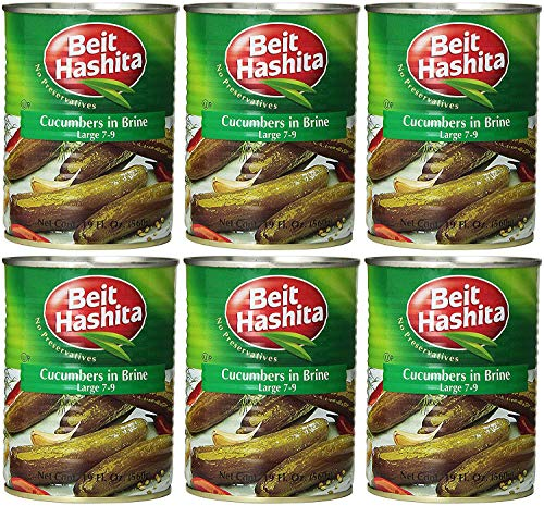 Beit Hashita Cucumbers in Brine Large, 7-9 Count, 19oz (Pack of 6, Total of 114 Oz)