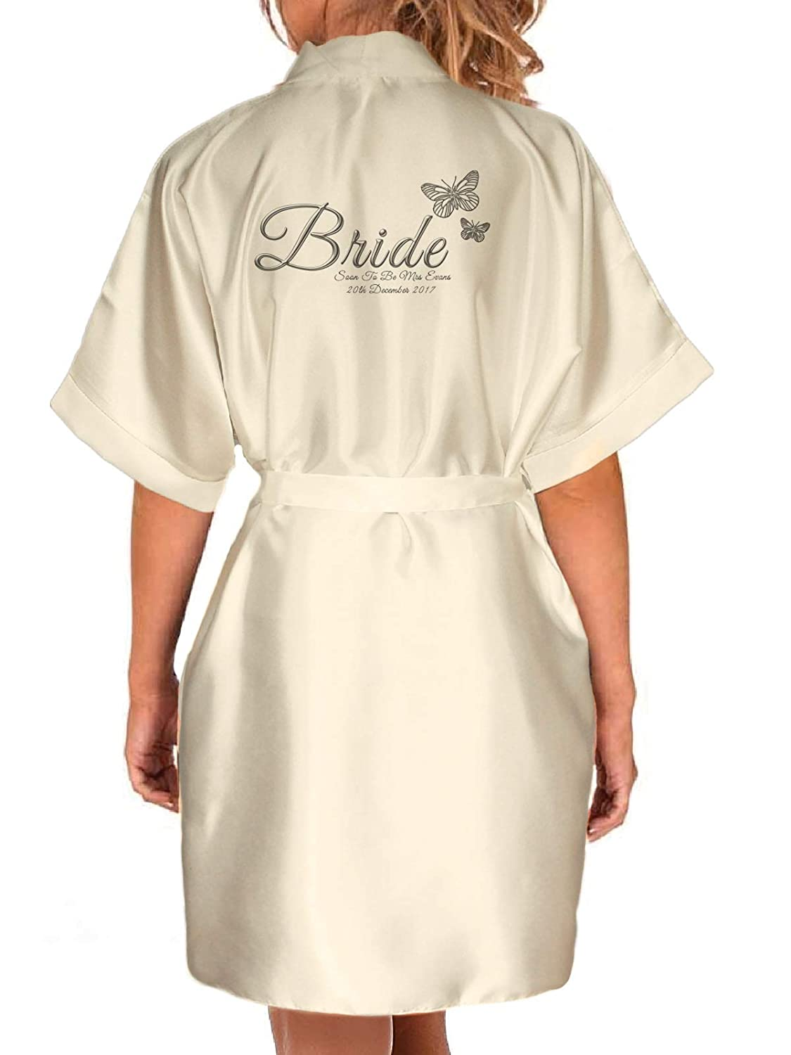 Inspired Creative Design Personalised Ivory Satin Kimono/Robe Printed Silver Effect Butterfly Design. Bride, Bridesmaid, (2-4 Yrs) Inspired Creative Design ®